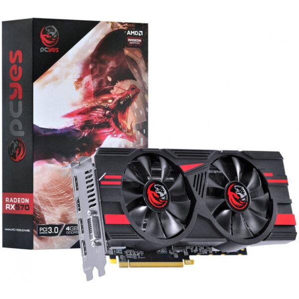 Placa de Vídeo Radeon PCYes RX 570 4GB Dual Fan PJ570RX256GD5