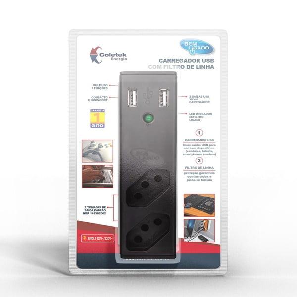 Filtro de Linha com Carregador de Smartphone Coletek