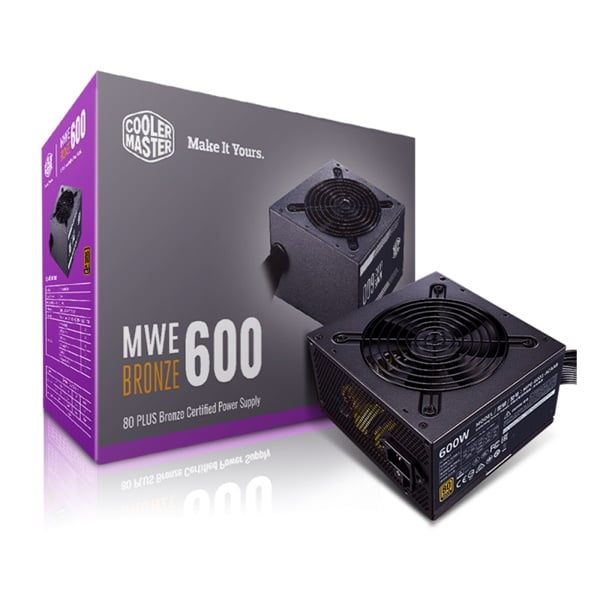Fonte Atx 600w Real 80 Plus Bronze Cooler Master MPE-6001-ACAAB-BR